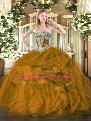 Ball Gowns Sweet 16 Quinceanera Dress Brown Strapless Organza Sleeveless Floor Length Lace Up