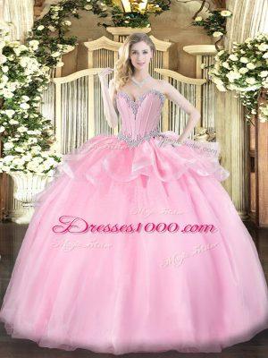 Hot Sale Beading Vestidos de Quinceanera Pink Lace Up Sleeveless Floor Length