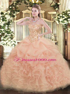 Peach Ball Gowns Organza Sweetheart Sleeveless Appliques and Ruffles and Pick Ups Floor Length Lace Up Sweet 16 Quinceanera Dress