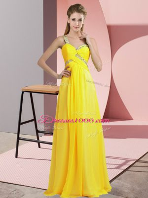 Latest Yellow Empire Chiffon One Shoulder Sleeveless Beading Floor Length Lace Up Prom Party Dress