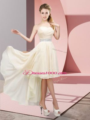 Champagne Chiffon Lace Up Sweetheart Sleeveless High Low Party Dress for Girls Beading