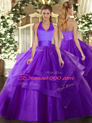 Lovely Ruffled Layers Sweet 16 Quinceanera Dress Purple Lace Up Sleeveless Floor Length