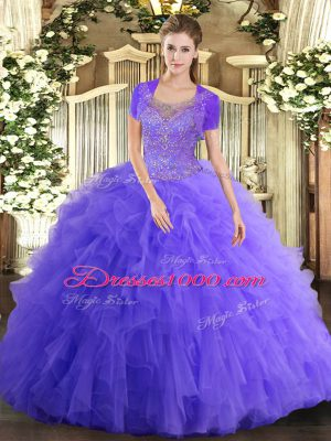 Tulle Scoop Sleeveless Clasp Handle Beading and Ruffled Layers Sweet 16 Dresses in Lavender