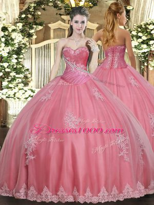 Romantic Watermelon Red Ball Gowns Beading and Appliques Quinceanera Dress Lace Up Tulle Sleeveless Floor Length