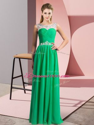 Floor Length Green Prom Gown Chiffon Sleeveless Beading