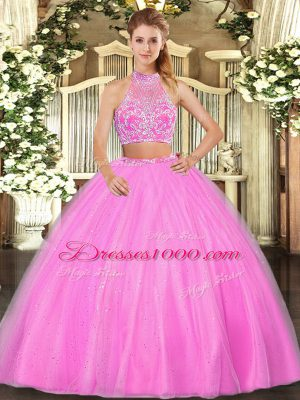 Luxury Hot Pink Tulle Criss Cross Halter Top Sleeveless Floor Length Quinceanera Dress Beading