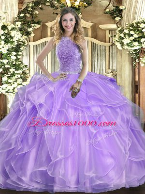New Style Sleeveless Lace Up Floor Length Beading and Ruffles Sweet 16 Dress