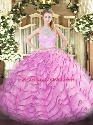Free and Easy Rose Pink Sleeveless Brush Train Lace and Ruffled Layers Vestidos de Quinceanera