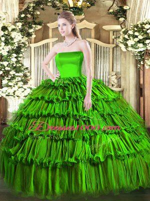 Strapless Sleeveless Zipper Quinceanera Gown Organza