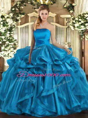 Luxurious Floor Length Baby Blue 15th Birthday Dress Organza Sleeveless Ruffles