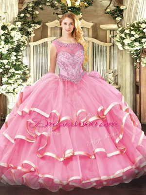 New Arrival Scoop Sleeveless 15th Birthday Dress Floor Length Beading and Ruffled Layers Rose Pink Organza