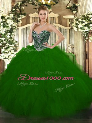 Custom Made Floor Length Ball Gowns Sleeveless Green Quinceanera Dress Lace Up
