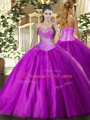 Custom Designed Tulle Sweetheart Sleeveless Lace Up Beading Sweet 16 Quinceanera Dress in Purple