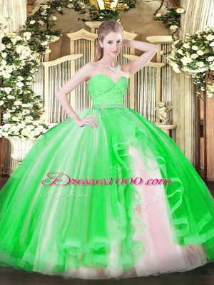 New Style Floor Length Green Sweet 16 Quinceanera Dress Sweetheart Sleeveless Zipper