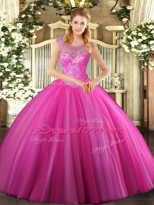 Scoop Sleeveless Lace Up 15 Quinceanera Dress Hot Pink Tulle