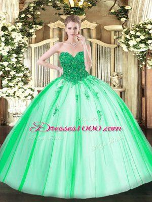 Stylish Turquoise Sweetheart Lace Up Beading 15 Quinceanera Dress Sleeveless