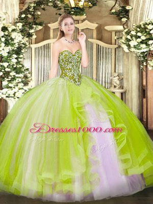 High End Floor Length Yellow Green Quinceanera Dress Tulle Sleeveless Beading and Ruffles
