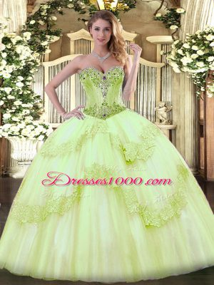High End Yellow Green Lace Up Sweetheart Beading Quince Ball Gowns Tulle Sleeveless