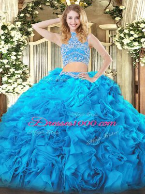 High End Aqua Blue Backless High-neck Beading and Ruffles Quince Ball Gowns Tulle Sleeveless