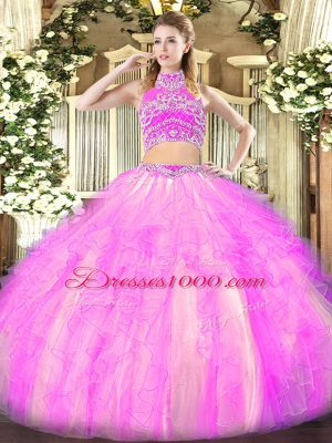 Decent Lilac High-neck Neckline Beading and Ruffles Sweet 16 Quinceanera Dress Sleeveless Backless