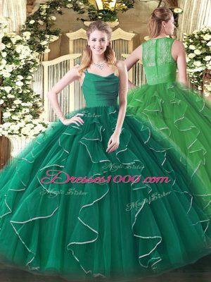 Discount Peacock Green Ball Gowns Ruffles Ball Gown Prom Dress Zipper Organza Sleeveless Floor Length