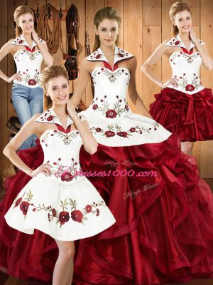 Pretty Sleeveless Lace Up Floor Length Embroidery and Ruffles Quinceanera Dress