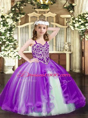 Nice Floor Length Ball Gowns Sleeveless Purple Winning Pageant Gowns Lace Up