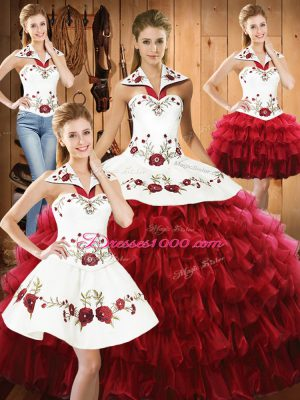 Flare Wine Red Sleeveless Floor Length Embroidery and Ruffled Layers Lace Up 15 Quinceanera Dress