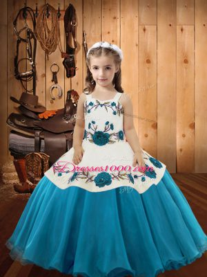 Sleeveless Floor Length Embroidery Lace Up Little Girls Pageant Dress with Teal