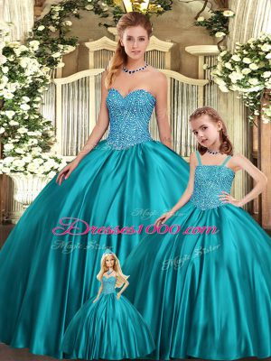 Fashionable Organza Sweetheart Sleeveless Lace Up Beading Quinceanera Gowns in Teal