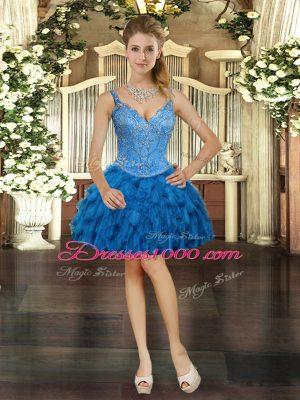 Vintage Royal Blue Organza Lace Up V-neck Sleeveless Mini Length Prom Party Dress Beading and Ruffles