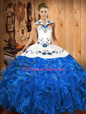 Sleeveless Satin and Organza Floor Length Lace Up Vestidos de Quinceanera in Blue And White with Embroidery and Ruffles