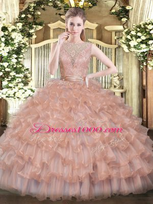 Champagne Sleeveless Tulle Backless Quinceanera Dresses for Military Ball and Sweet 16 and Quinceanera
