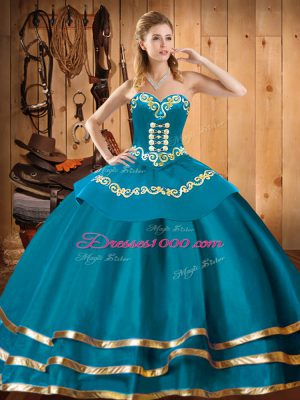 Sweetheart Sleeveless Ball Gown Prom Dress Floor Length Embroidery Teal Organza