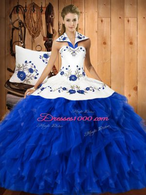 Floor Length Ball Gowns Sleeveless Blue And White 15th Birthday Dress Lace Up