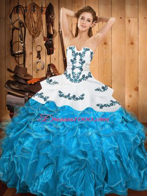 Dramatic Teal Sleeveless Floor Length Embroidery and Ruffles Lace Up Sweet 16 Dresses
