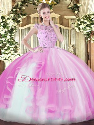 Deluxe Floor Length Lilac 15th Birthday Dress Bateau Sleeveless Zipper