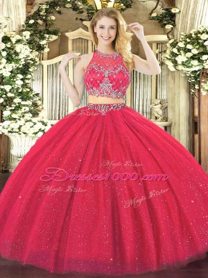 Floor Length Two Pieces Sleeveless Coral Red Quinceanera Dresses Zipper