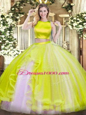 Flirting Yellow Green Two Pieces Ruffles Sweet 16 Dresses Criss Cross Tulle Sleeveless Floor Length