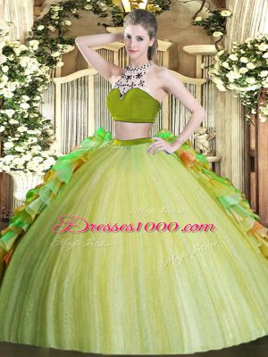 Comfortable Two Pieces Quinceanera Gown Olive Green High-neck Tulle Sleeveless Floor Length Backless