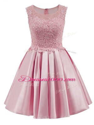 Cheap Baby Pink Zipper Bridesmaid Gown Lace Sleeveless Mini Length
