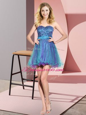 Exceptional Mini Length Multi-color Bridesmaid Dress Tulle Sleeveless Beading and Sequins