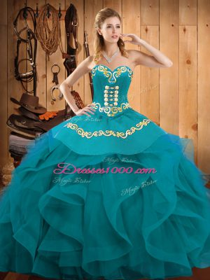 Teal and Turquoise Sweetheart Neckline Embroidery and Ruffles Quinceanera Gowns Sleeveless Lace Up