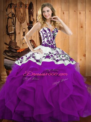 Graceful Eggplant Purple Sweetheart Lace Up Embroidery and Ruffles Quince Ball Gowns Sleeveless