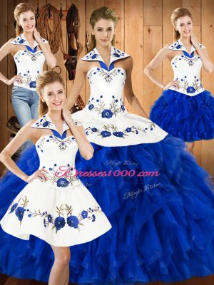 New Arrival Blue And White Ball Gowns Satin and Organza Halter Top Sleeveless Embroidery and Ruffles Floor Length Lace Up Sweet 16 Dress