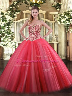 Cute Coral Red Lace Up Ball Gown Prom Dress Beading Sleeveless Floor Length