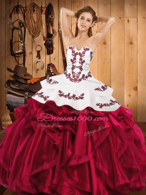 Embroidery and Ruffles Quinceanera Gowns Hot Pink Lace Up Sleeveless Floor Length