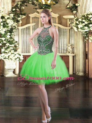 Tulle Lace Up Halter Top Sleeveless Mini Length Prom Dress Beading