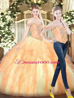 Superior Floor Length Gold Sweet 16 Dresses Off The Shoulder Sleeveless Lace Up