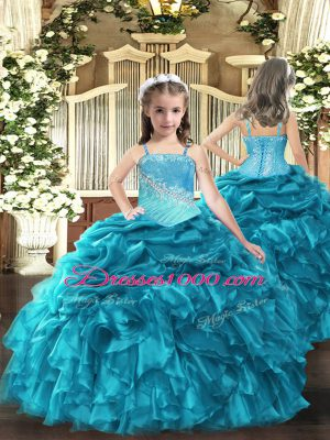 Sleeveless Floor Length Embroidery and Ruffles Lace Up Little Girl Pageant Dress with Teal